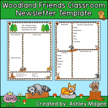 Woodland Friends Editable Classroom Newsletter Template By Mrs Magee