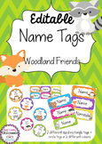 Woodland Friends Editable Name Tags / Desk Plates - Rainbow Chevron