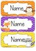 Woodland Friends Editable Name Tags / Desk Plates - Rainbow Chevron