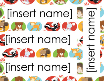 Woodland Friends Theme Name Tags