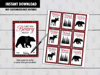 Woodland Friends Valentine's Day Card, Lumberjack Animals Exchange Gift Tags