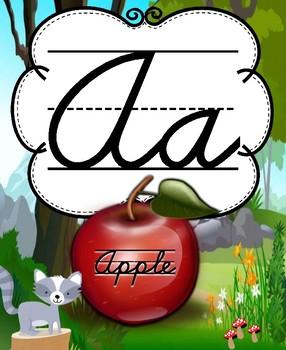 Woodland Friends Wall Alphabet Cursive