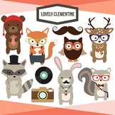 Woodland Hipsters Clip Art - woodland animals line art - L