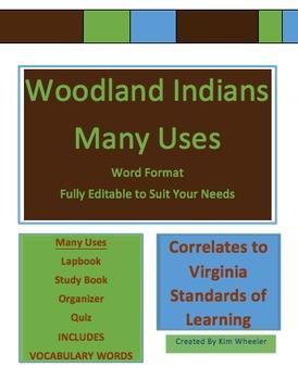 Woodland Indians - Lap Book / Study Book & Vocab VA sol 2nd grade