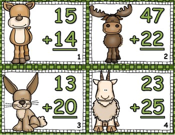 Woodland Mountain 2 Digit Addition NO Regrouping Task Cards