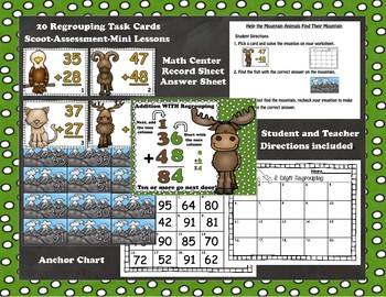 Woodland Mountain Regrouping and NO Regrouping Addition Task Cards