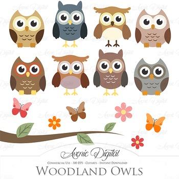 Woodland Owl Cliparts - Vectors bird clip art