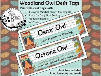 Woodland Owl Desk Tags with Hidden Zones, Growth Mindset, and Goal Setting
