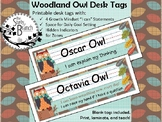 Woodland Owl Desk Tags with Hidden Zones, Growth Mindset,
