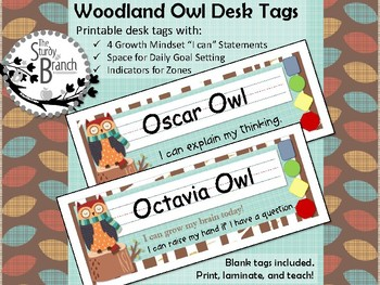 Woodland Owl Desk Tags with Zones, Growth Mindset, and Goal Setting