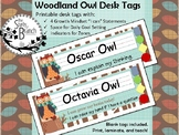 Woodland Owl Desk Tags with Zones, Growth Mindset, and Goa