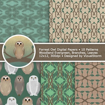 Woodland Owl Digital Paper, 10 Printable Forrest Owl Background Patterns
