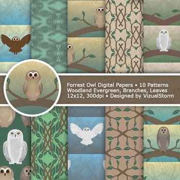 Woodland Owl Digital Paper, 10 Printable Forrest Owl Backg