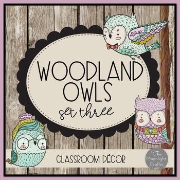 Woodland Owls Classroom Decor 3 EDITABLE