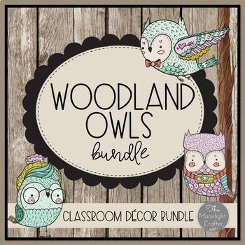 Woodland Owls Classroom Decor Bundle with Editable Features