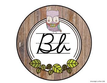 Woodland Owls Cursive Alphabet