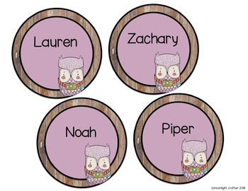 Woodland Owls Editable Elements for Classroom Decor