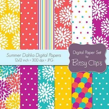 Summer Dahlias Digital Paper Set Scrapbook Paper INSTANT DOWNLOAD