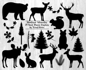 Woodland Silhouettes Clip Art - 20 Forrest Animals, Plants, Vines and Trees