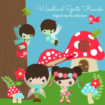 Woodland Sprites Fairy Friends  Digital Clipart