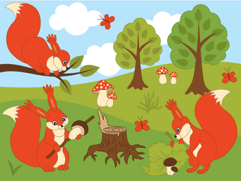 Woodland Squirrels Clipart - Digital Vector Squirrel, Mushroom, Forest Clip Art