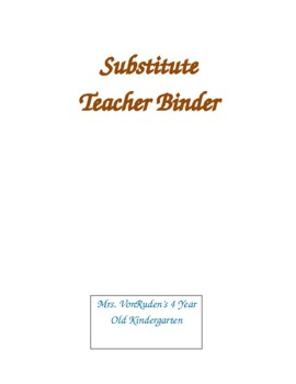 Woodland Substitute Teacher Binder Cover