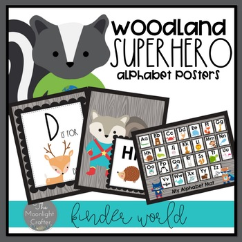 Woodland Superhero Themed Alphabet Posters
