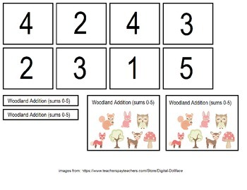 Woodland Theme Addition File Folder Games (Sums 0-10)
