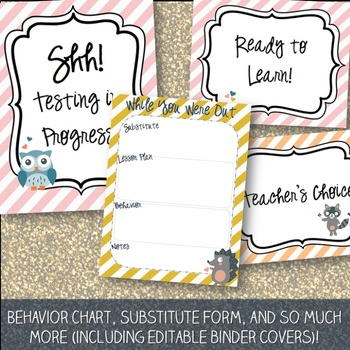 Woodland Theme Classroom Decor Pack with Editables