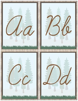 Woodland Theme Classroom Decoration - Alphabet Cursive