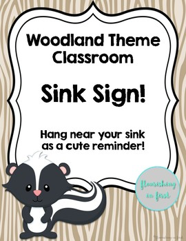 Woodland Theme Classroom Sink Sign