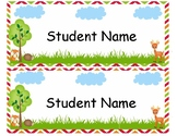 Woodland Theme Desk Name Tags - Editable