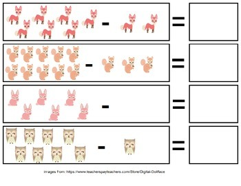 Woodland Theme Subtraction File Folder Games (Sums 0-10)
