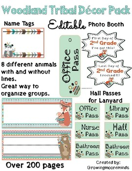 Woodland Tribal Editable Classroom Decor Pack