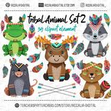 Woodland Tribal animals set 2, friendly animal buddies, boho clip art
