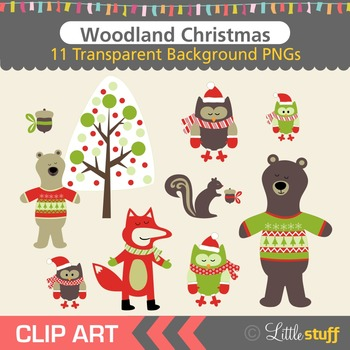 Woodland Winter Clipart, Woodland Christmas Clip Art