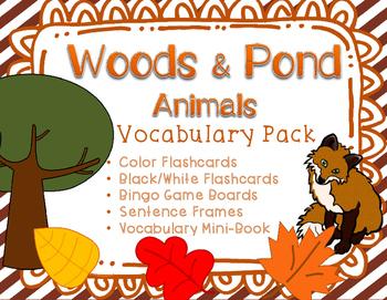 Woodland and Pond Animals Vocabulary Flashcards, Bingo, and Minibook