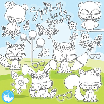 Woodland animal stamps commercial use, vector graphics, images  - DS967