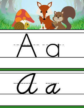 Woodland animals - Alphabet Cards, Handwriting, ABC print and D'Nealian Cursive