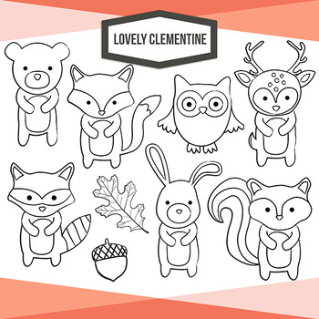 Woodland animals clip art - forest animals - Lovely Clementine clip art
