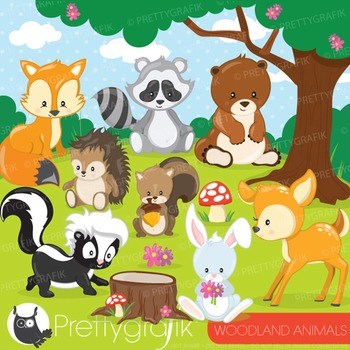 Woodland animals clipart commercial use, vector graphics,