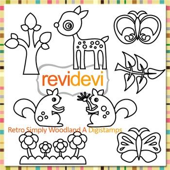 Woodland animals, deer, squirrels, butterflies (digital stamps, coloring) S056