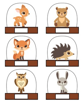 Woodland animals name tags