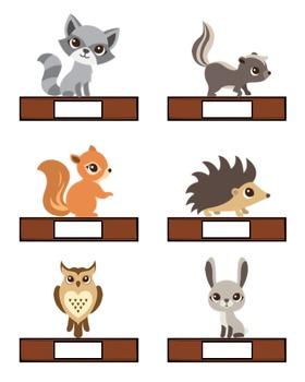 Woodland animals name tags