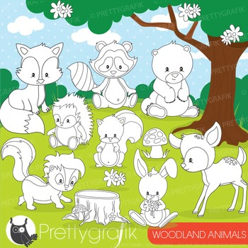 Woodland animals stamps commercial use, vector graphics, images - DS807