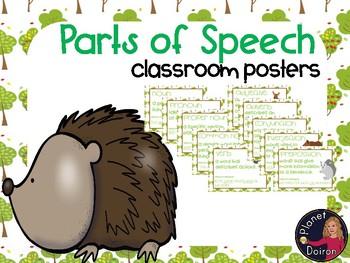 Woodland animals theme parts of speech wall posters Grammar