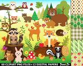 Woodland clipart animals rabbit fox images forest clip art