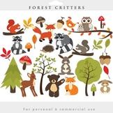 Woodland clipart - forest clip art critters forest animals fox raccoon deer bear