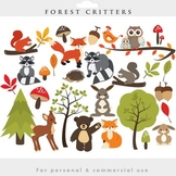 Woodland clipart - forest clip art critters forest animals fox raccoon deer bear