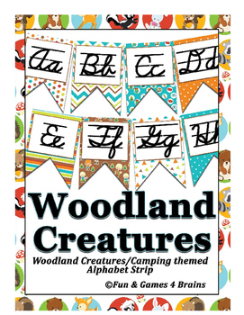 Woodland creatures (Camping) themed Cursive Alphabet Strip
